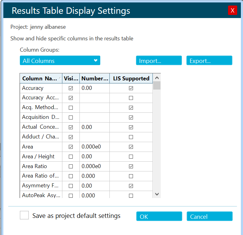 results table display settings
