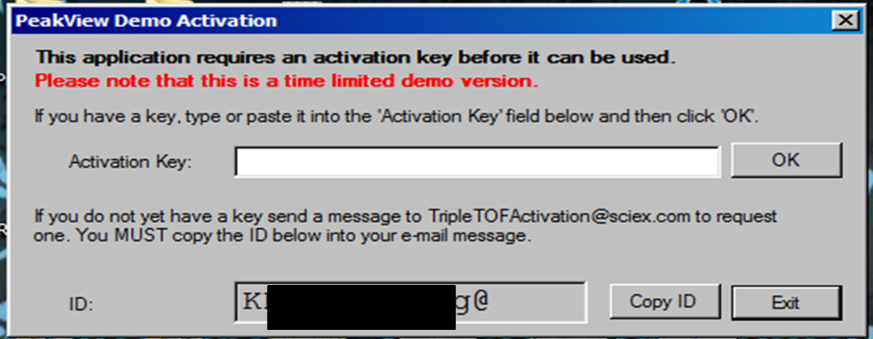 PeakView 1.2 license activation screen