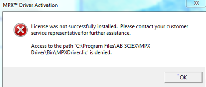 Access to the path C:\Program Files\AB Sciex... is denied.