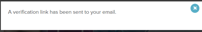 Verification email notice