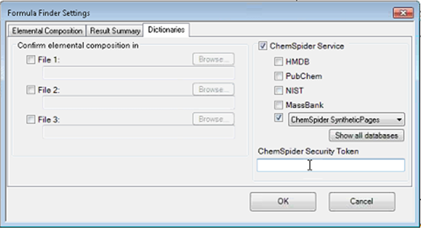 Formula Finder Settings panel in Sciex OS
