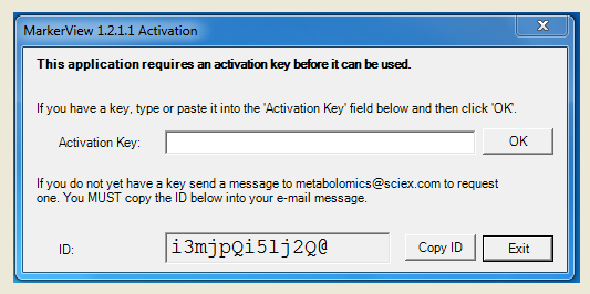 MarkerView 1.2.1.1 activation key screen