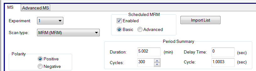 sMRM modes in Analyst